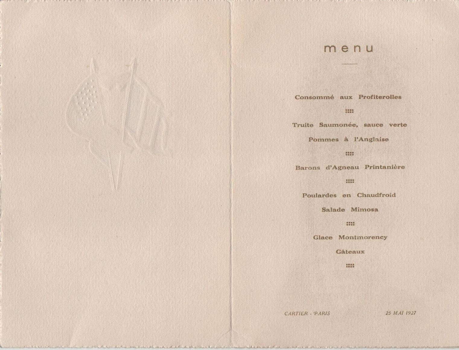 1927-05-25 - Menu dédicacé par Charles LINDBERGH à Paris le 25 mai 1927, également signé par l'ambassadeur des Etats-Unis en France, Myron T. HERRICK et le Maréchal LYAUTEY