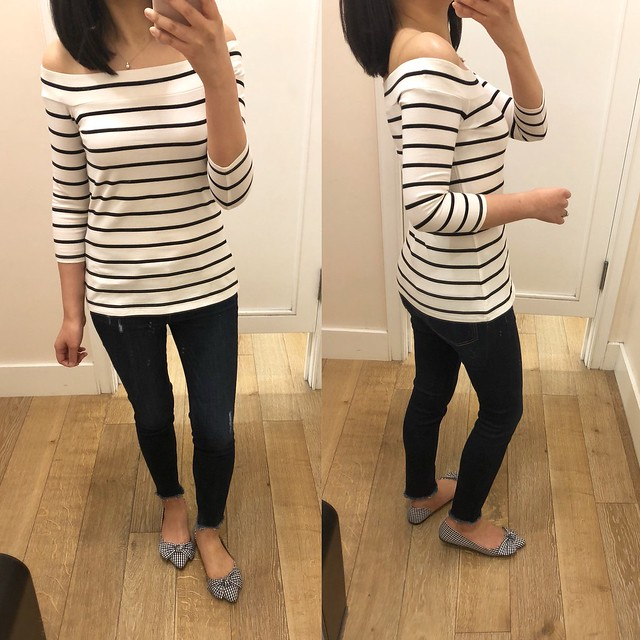 LOFT Striped Off The Shoulder Top, size XSP