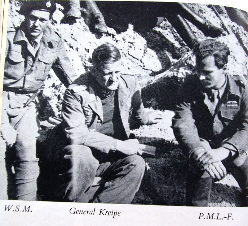 Sad German general. Kraype, infantry, left, kidnapping, after, appointed, Moss, Muller, returned, operation, Fermor, time, division, when, Greek, Fermor, general, general, island, war