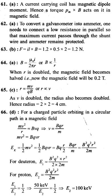 NEET AIPMT Physics Chapter Wise Solutions - Moving Charges and Magnetism explanation 61,62,63,64,65,66