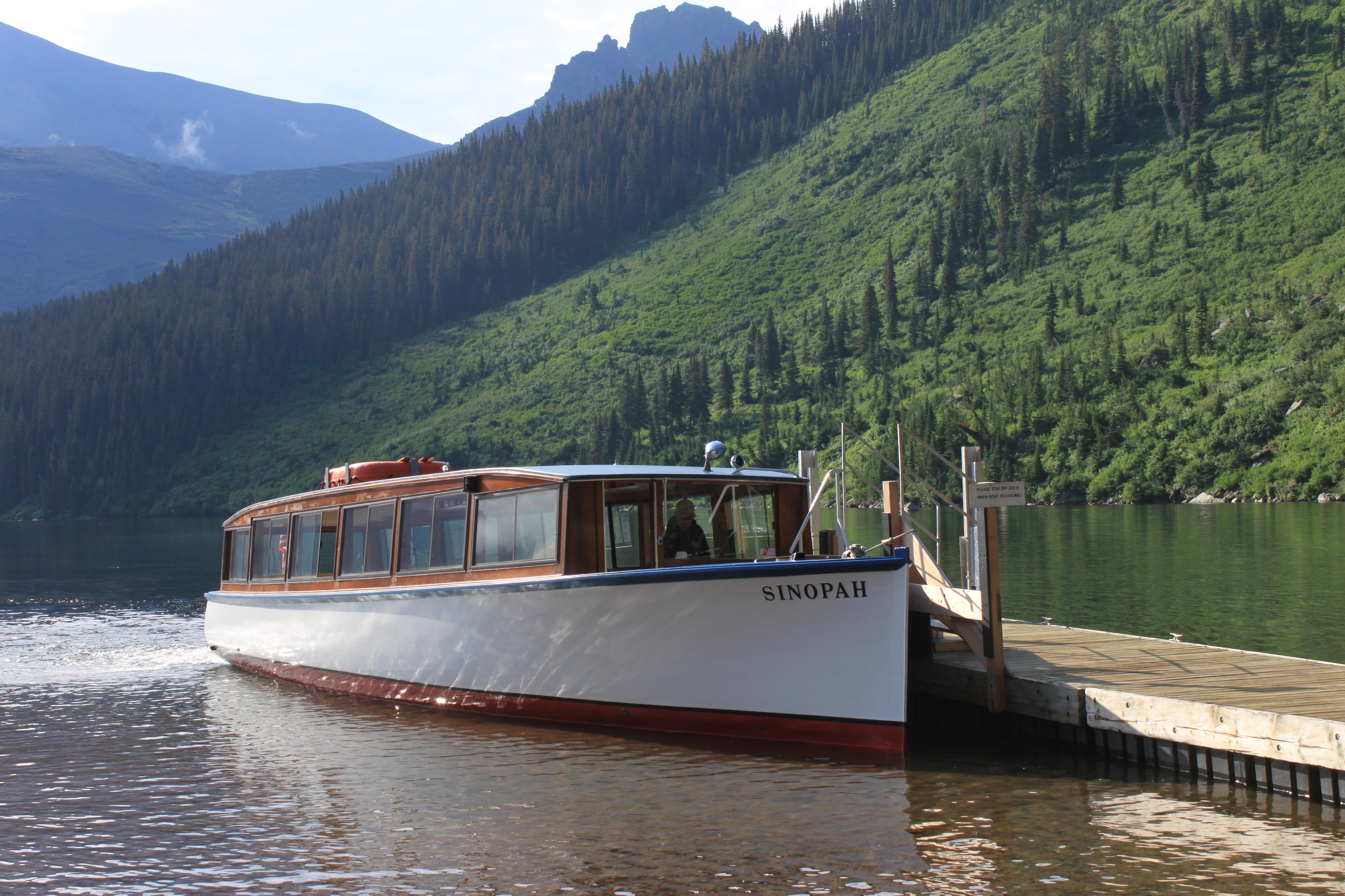 Historic tour boat Sinopah on Two Medicine Lake, Glacier National Park, Montana. Photo taken on August 1, 2014.