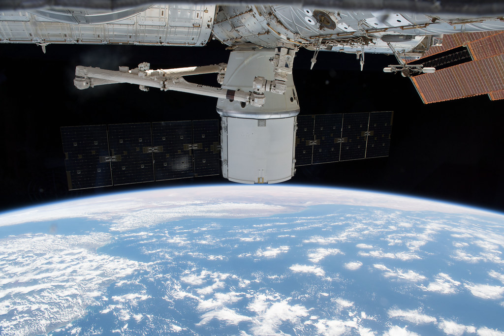 The SpaceX Dragon resupply ship was gripped by the Canadarm2 robotic arm on April 27, 2018