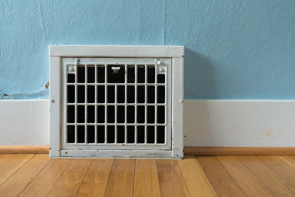 An old heating vent in my office in our house in the Irvington neighborhood of Portland, Oregon