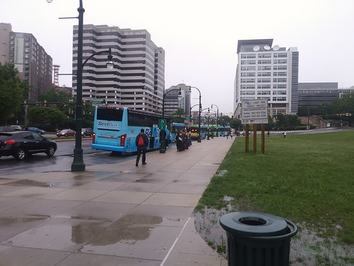 Inter city bus stopped adjacent to Silver Spring Transit Center