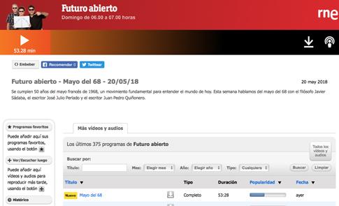 18e21 RNE Futuro abierto Mayo del 68 Uti 485