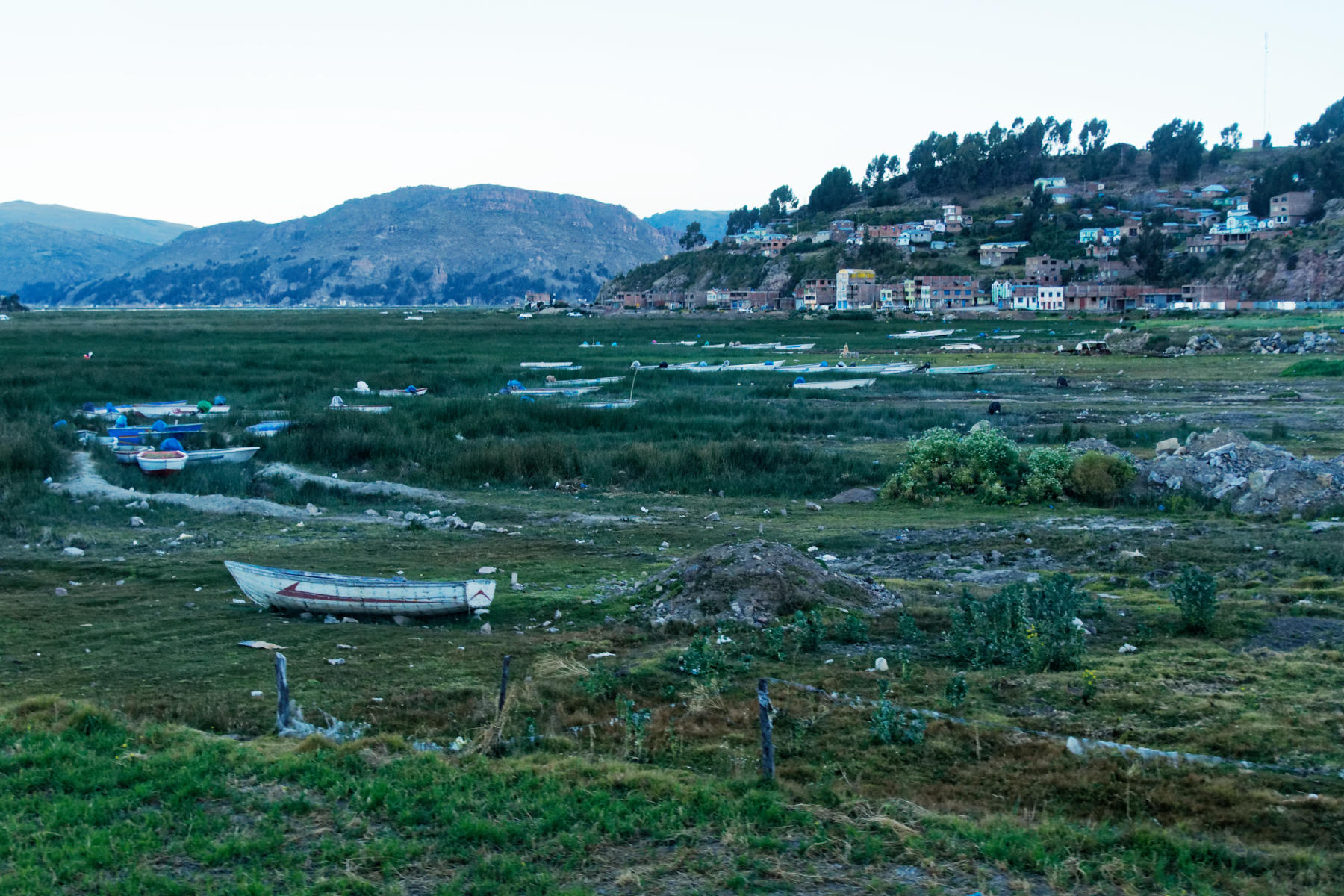 The shores of Lake Titicaca in the late afternoon