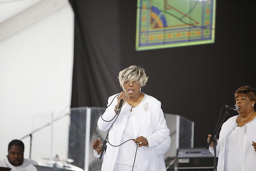 Audrey Ferguson and The Voices of Distinction in the Gospel Tenton Day 7 of Jazz Fest - May 6, 2018. Photo by Michele Goldfarb.