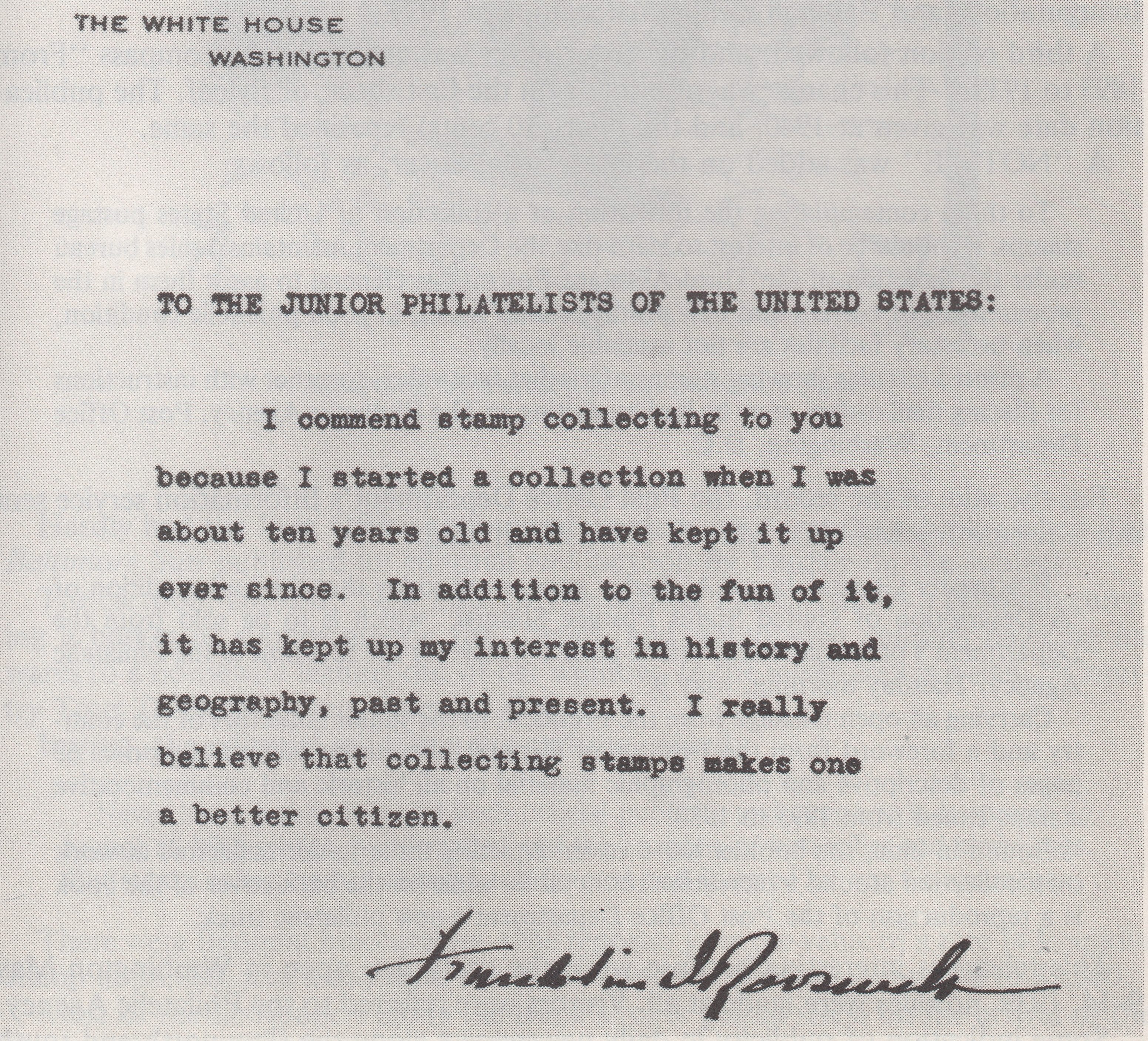 Message from U.S. President Franklin D. Roosevelt included in the Junior Edition of