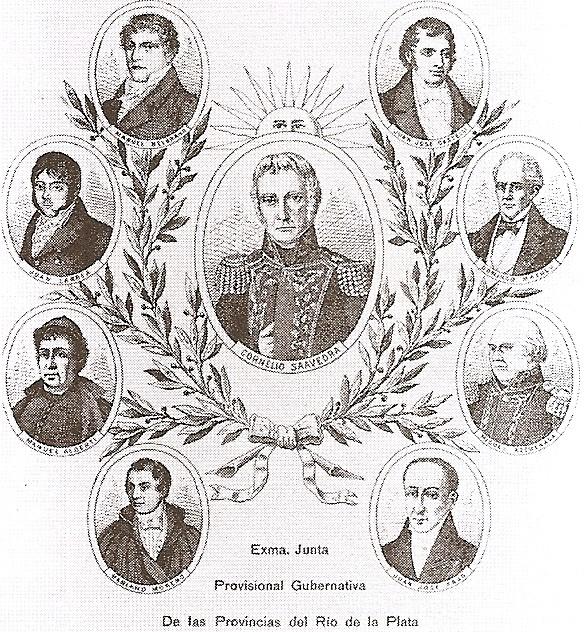 Junta Provisional Gubernativa de las Provincias Unidas del Río de la Plata, litografía de G. Kraft / Members of the Primera Junta in a lithograph by G. Kraft.