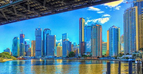 Brisbane city buildings and Eagle Street Pier