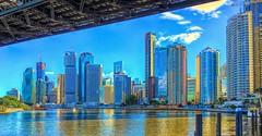 Brisbane city buildings and Eagle Street Pier