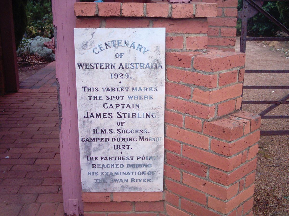 Marker erected at James Stirling's campsite at the farthest point he reached during his initial March 1827 exploration up the Swan River, Western Australia.