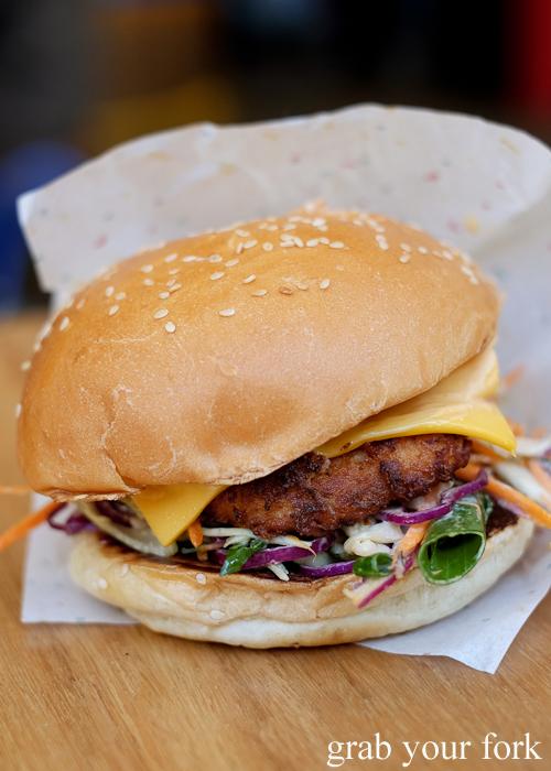 Golden Axe fried chicken burger by 8bit at Steam Mill Lane Sydney