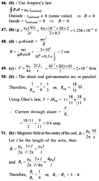 NEET AIPMT Physics Chapter Wise Solutions - Moving Charges and Magnetism explanation 46,47,48,49,50,51