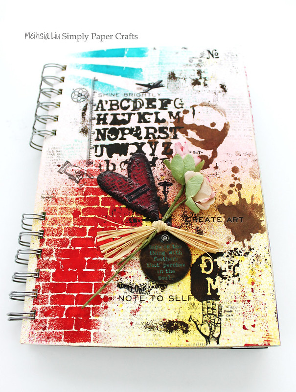 Meihsia Liu Simply Paper Crafts Mixed Media Art Journal Tim Holtz Stencil Simon Says Stamp