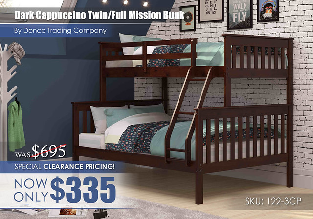 Clearance_Donco Dark Cappuccino Twin Full Mission Bunk Bed 122-3CP