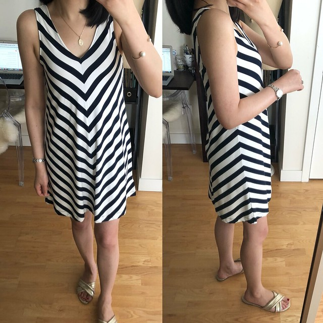 LOFT Chevron Sleeveless Swing Dress, size XXSP