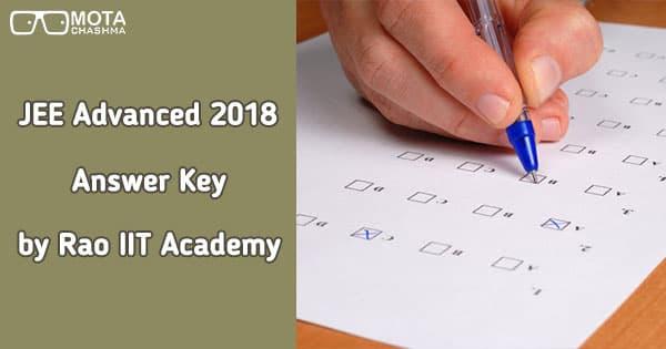 jee advanced answer key by rao iit academy
