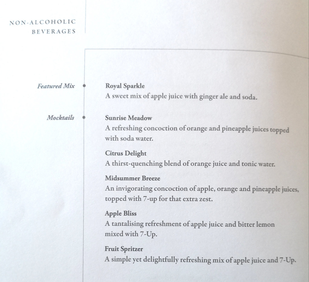 Non-alcoholic beverage list