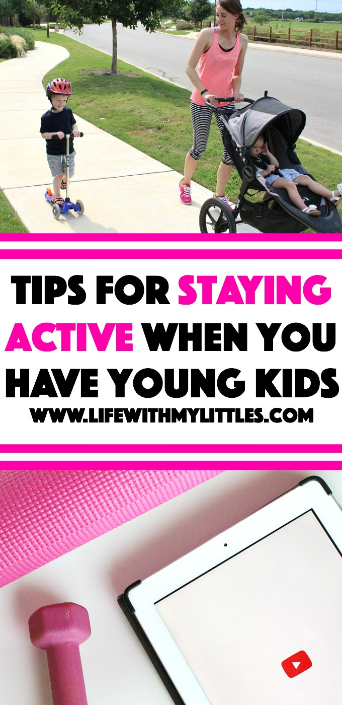 These tips for staying active when you have young kids are so helpful! If you aren't sure how to find ways to exercise and stay fit with kids, this post is for you!