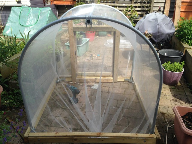 Finished netting cover for the polytunnel