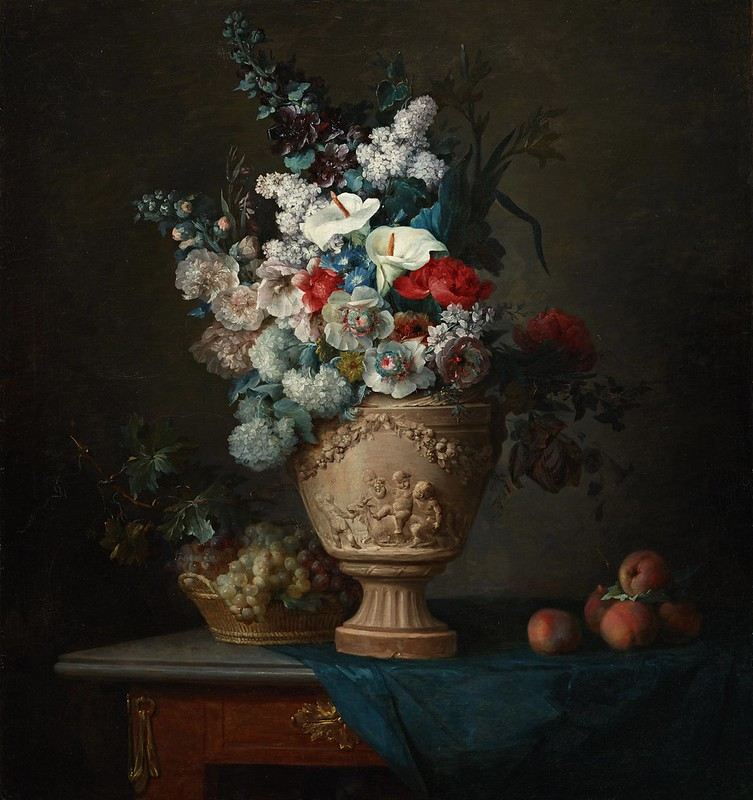 Anne Vallayer-Coster - Bouquet of Flowers in a Terracotta Vase with Peaches and Grapes (1776)