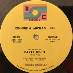 JOHNNIE & MICHAEL HILL:PARTY NIGHT(RAP IT UP)(LABEL SIDE-B)