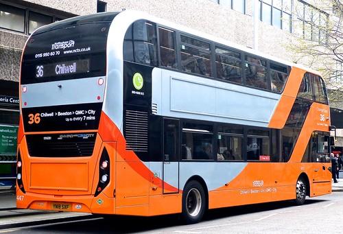 YN18 SXF 'Nottingham City Transport' No. 447 'Orange Line 36'. Scania N280UD / Alexander Dennis Ltd. Enviro 400CBG City /2 on 'Dennis Basford's railsroadsrunways.blogspot.co.uk
