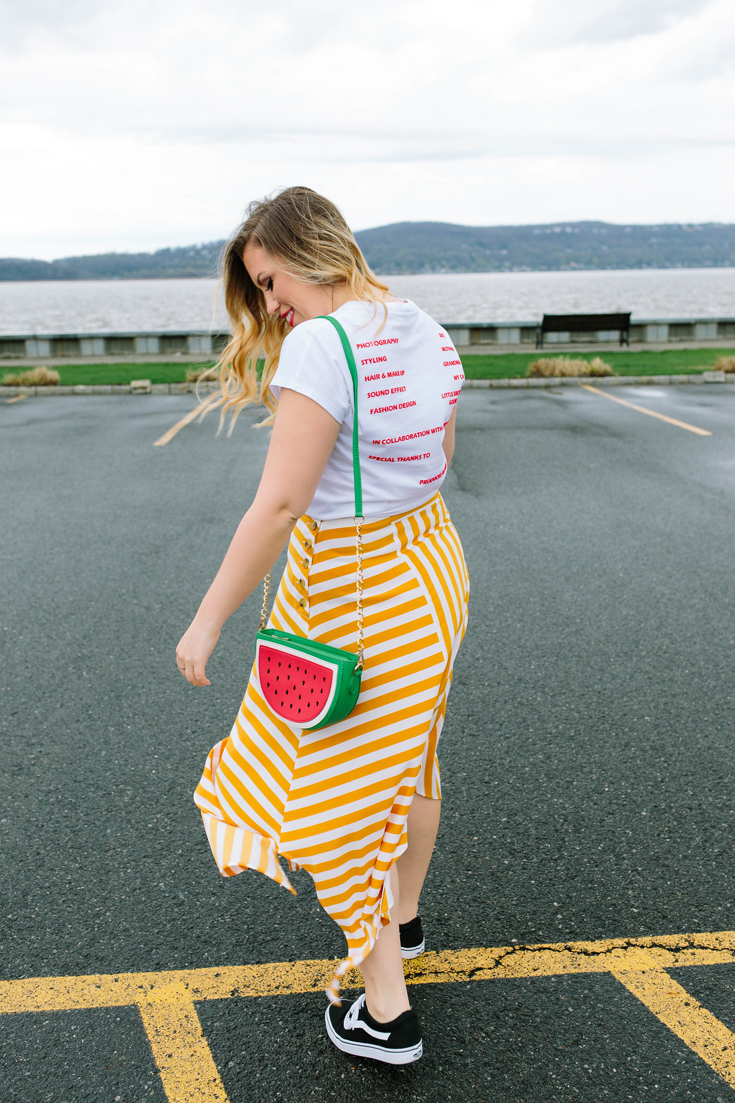 How to Dress Down a Midi Skirt Topshop Button Handkerchief Hem Midi Striped Skirt Watermelon Purse Bag Sandra Flocked Tee Jackie Giardina Living After Midnite Blog Irvington NY Waterfront