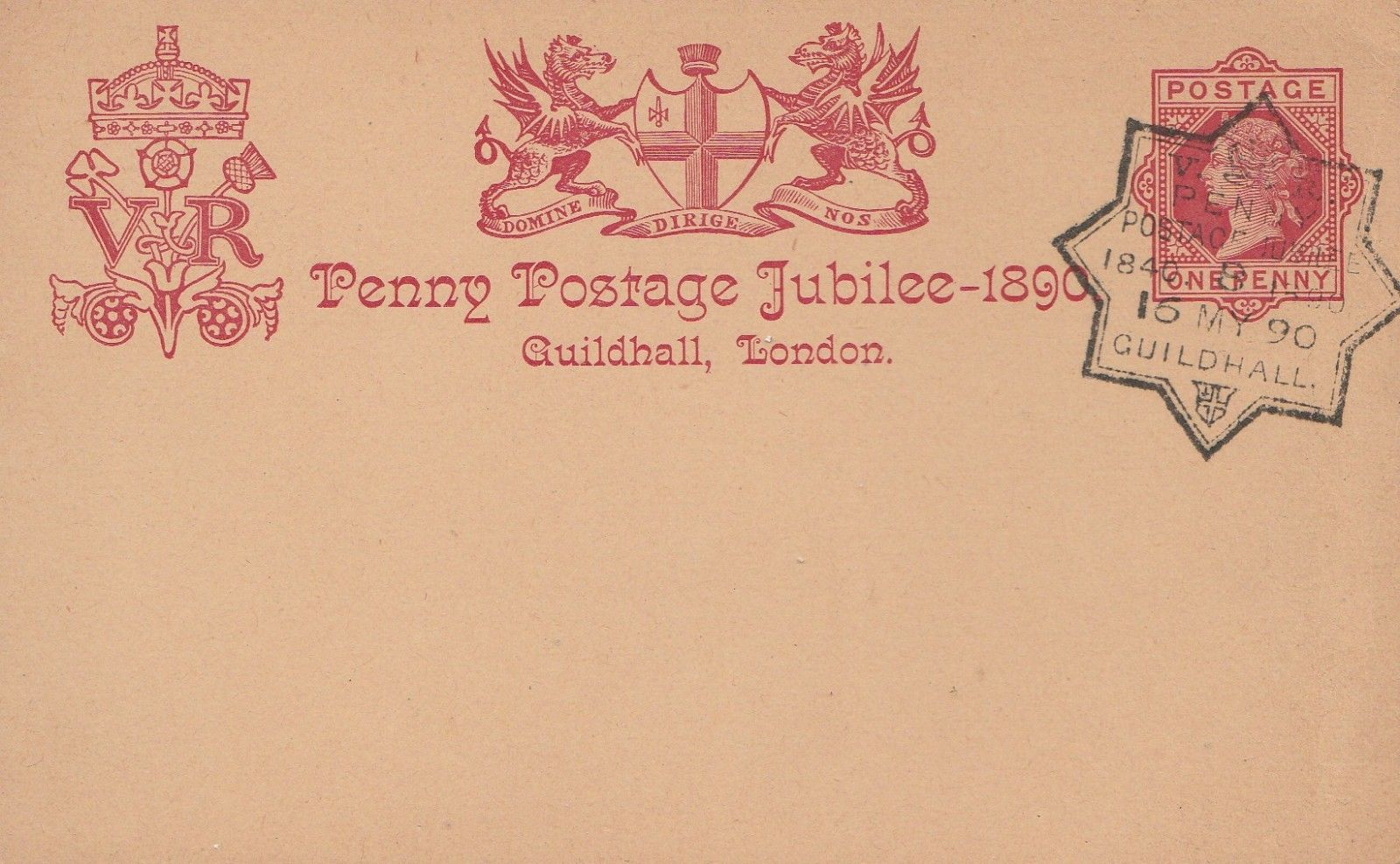Great Britain postal card marking the 50th anniversary of Penny Postage. The special starred postmark from Guildhall, London, is dated May 15, 1890.