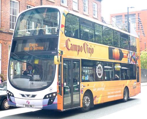 BN61 MWJ 'First Manchester' No. 39210, 'Campo Viejo'. Volvo B5LH / Wright Eclipse Gemini on 'Dennis Basford's railsroadsrunways.blogspot.co.uk'