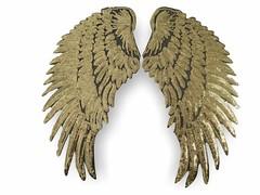2 ANGEL WINGS, golden, XL Pailletten Applikationen