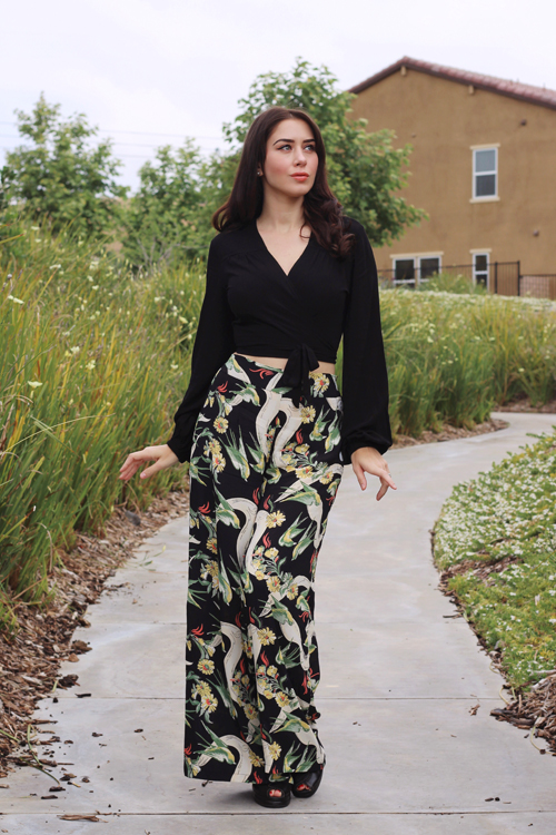 Loco Lindo 1970s Inspired Solid Black Babaloo Crop Top Loco Lindo Black Swallow Print High Waist Wide Leg Pants