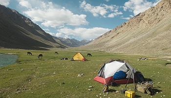 Lagerplatz im Pamirgebirge