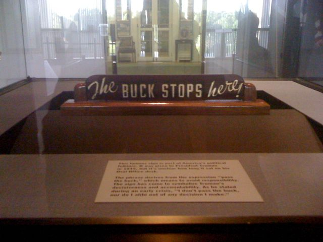 Former U.S. president Harry S. Truman's desk as displayed at the Harry S. Truman Presidential Library and Museum in Independence, Missouri, with the famous