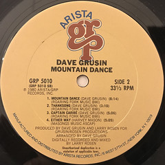 DAVE GRUSIN:MOUNTAIN DANCE(LABEL SIDE-B)