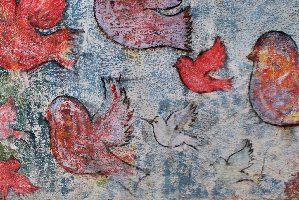 Street art à Asilah  : Un nuée d'oiseaux s'envolent.