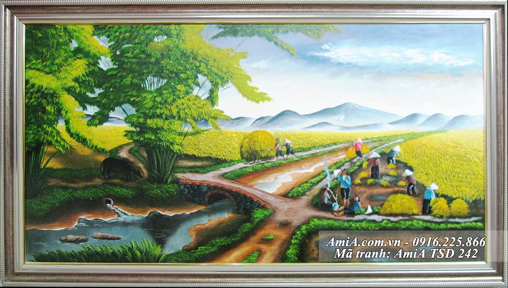 Tranh sơn dầu cánh đồng quê em người nông dân gặt lúa