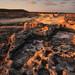 Antient stone fundfact rocky coast coastline Northern Cyprus sunrise