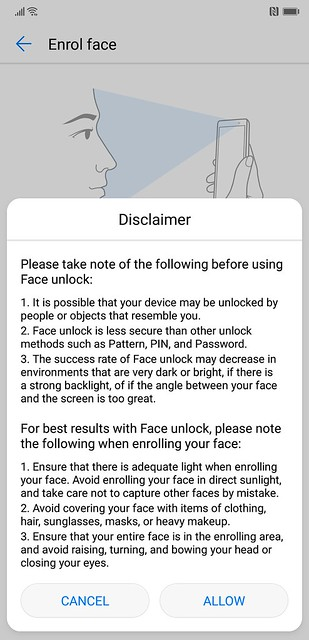 EMUI 8.1 - Face Unlock - Enrol Face Disclaimer