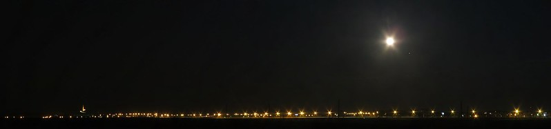 Night road with Mound of Glory under Full Moon and JupiterIMG_7162 Panorama