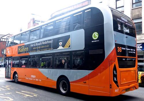 YN18 SXF 'Nottingham City Transport' No. 447 'Orange Line 36'. Scania N280UD / Alexander Dennis Ltd. Enviro 400CBG City/1 on 'Dennis Basford's railsroadsrunways.blogspot.co.uk
