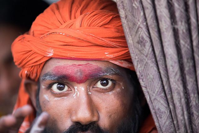 The piercing eyes of a Sadhu in Varanasi, Indonesia.