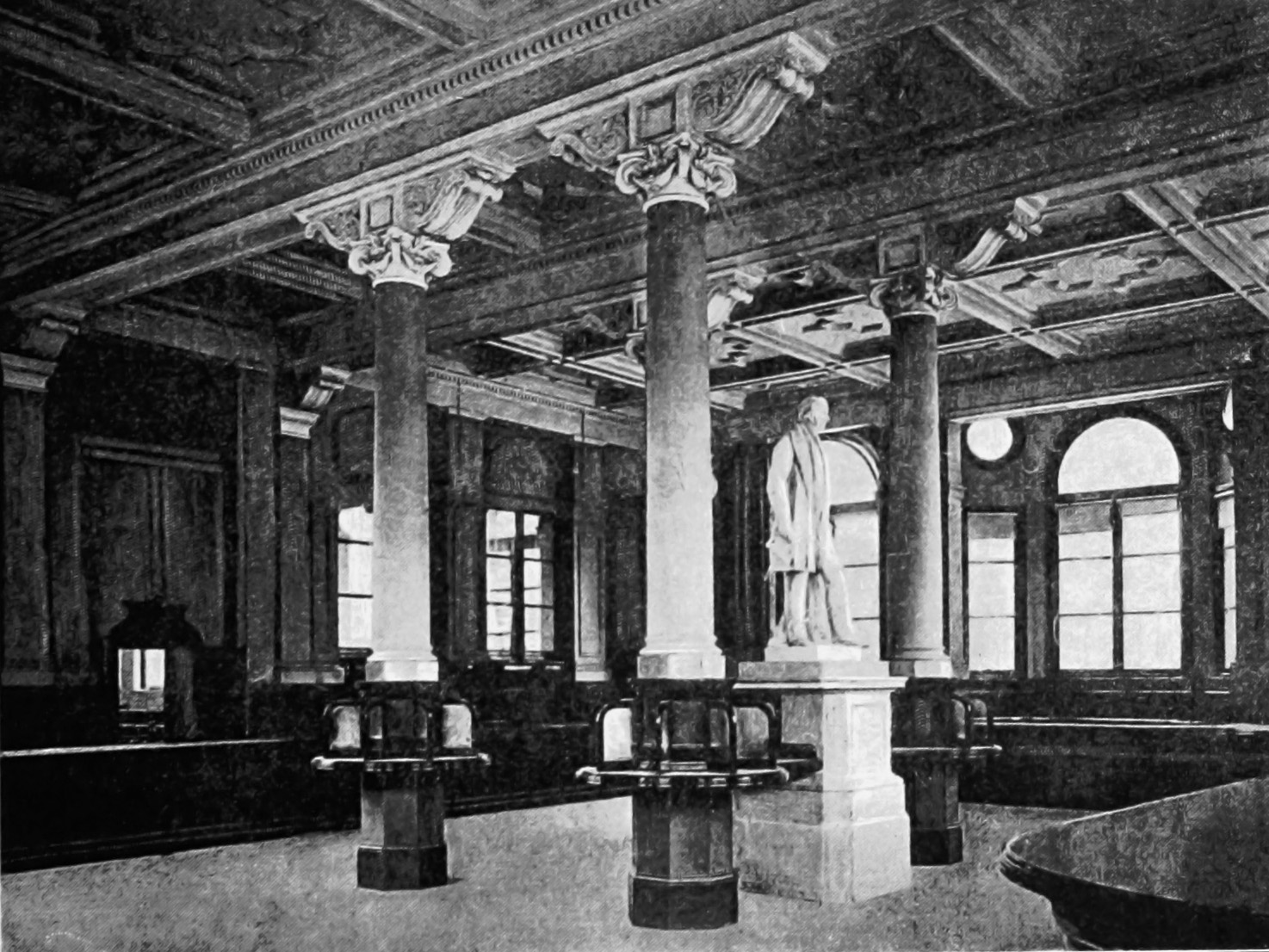 Statue of Rowland Hill in Birmingham's General Post Office, photographed shortly before its opening in 1894.