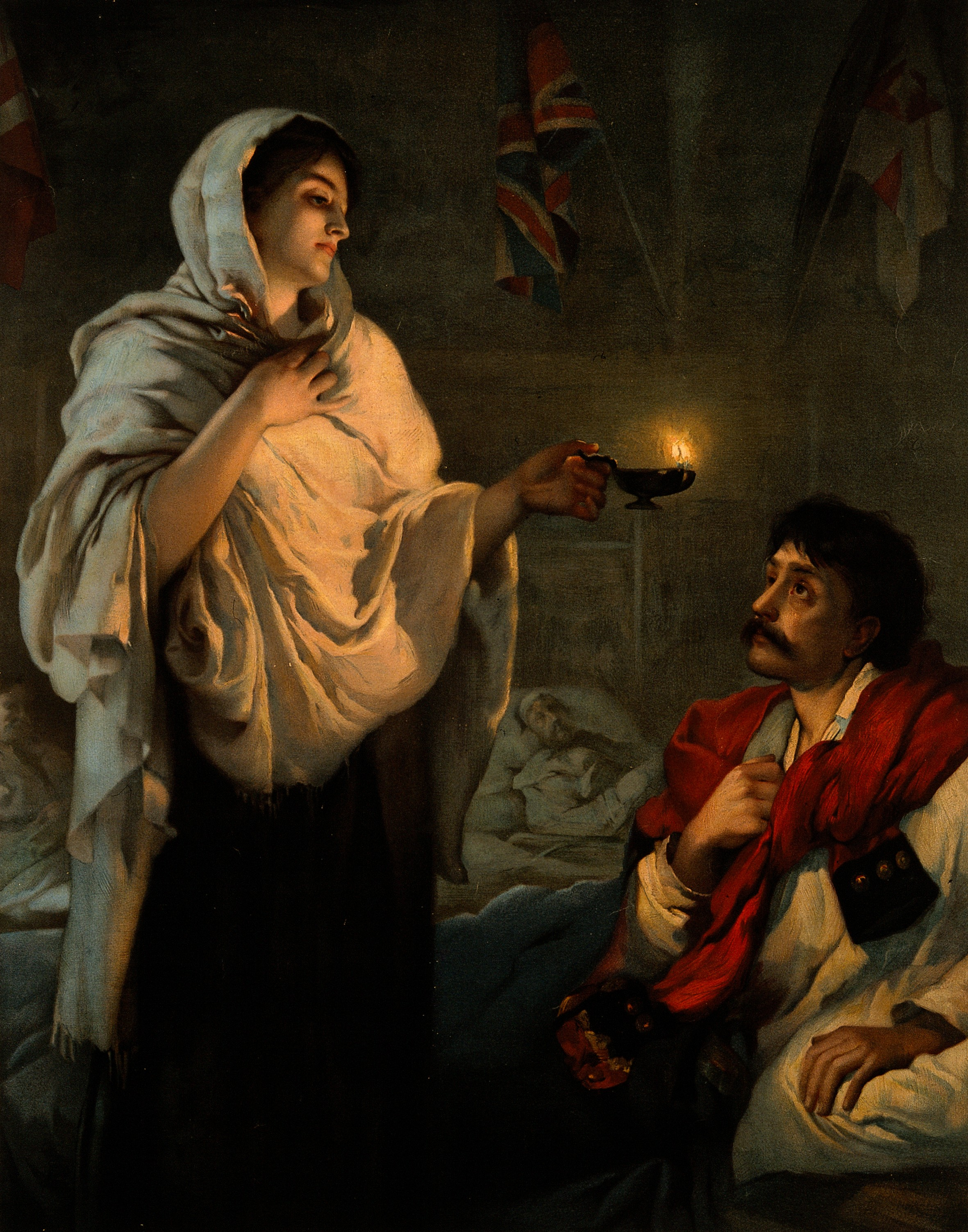 The Lady with the Lamp. Popular lithograph reproduction of a painting of Nightingale by Henrietta Rae, 1891.