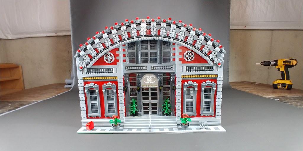 Huge lego train station by Bevins Bricks