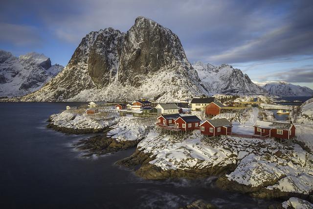 Rorbuer, cabins on stilts on the rocks of Hamnoy, Lofoten, Norway