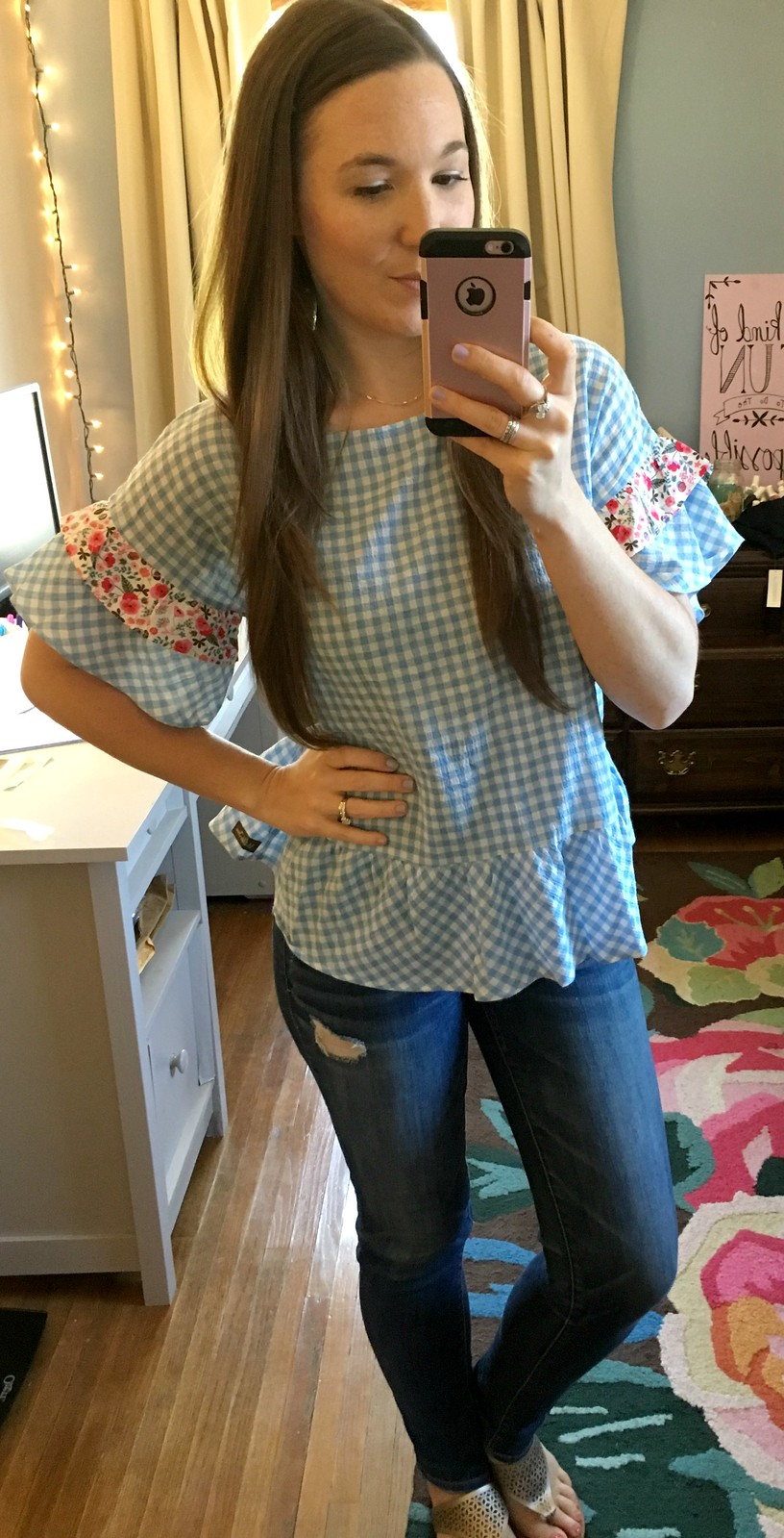 Matilda Jane ruffle sleeve gingham top