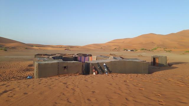 Berber nomad tents in Erg Chebbi, Sahara Desert, Morocco