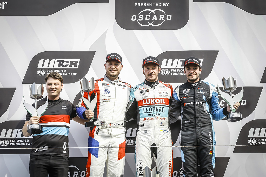 HUFF Rob, (gbr), Volkswagen Golf GTI TCR team Sebastien Loeb Racing, portrait, VERNAY Jean-Karl, (fra), Audi RS3 LMS TCR team Audi Sport Leopard Lukoil, portrait, VERVISCH Frederic, (bel), Audi RS3 LMS TCR team Comtoyou Racing, portrait, podium, during the 2018 FIA WTCR World Touring Car cup of Zandvoort, Netherlands from May 19 to 21 - Photo Jean Michel Le Meur / DPPI